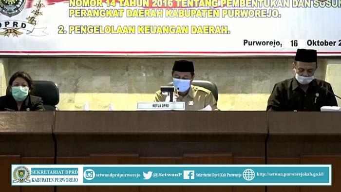 Rapat Pripurna DPRD Kab.Purworejo 16 Oktober 2020 Penyampian dan Pemandangan Umum Fraksi