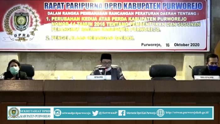 Rapat Paripurna DPRD Kab.Purworejo 16 Oktober 2020 ,Jawaban Bupati Atas Pemandangan Umum Fraksi