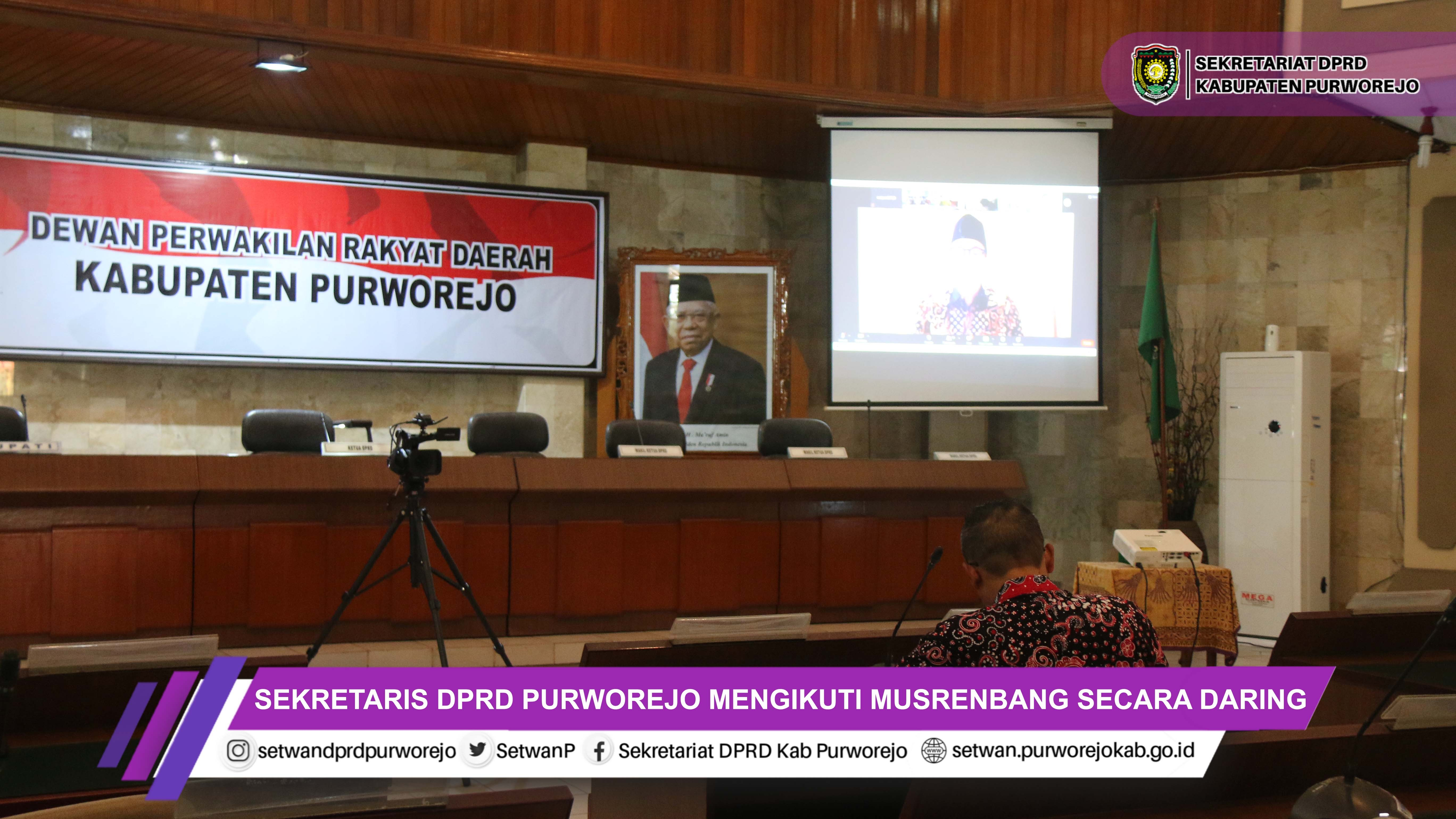 Sekretaris DPRD Purworejo Mengikuti Musrenbang Secara Daring